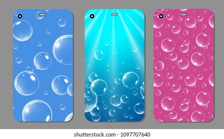 Purple sparkling phone case. Blue and Pink template cover smartphone with bubbles. Vector illustration