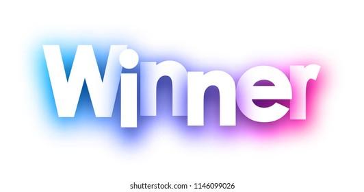 Purple spectrum winner sign on white background. Vector paper illustration.