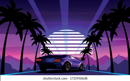 Purple sports car on the background of a retro wave landscape with palm trees along the road. Vector illustration in the style of the 80s.