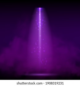 Purple spotlight. Bright lighting with spotlights of the stage with purple dust on dark background
