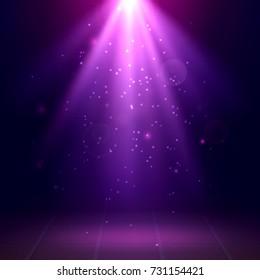 Purple spotlights. Scene. Disco. Light Effects. Vector illustration