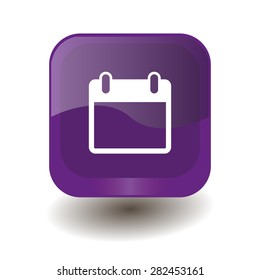 Purple square button with white calendar sign, vector design for website
