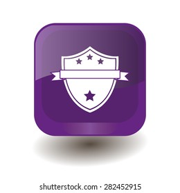 Purple square button with white shield sign, vector design for website