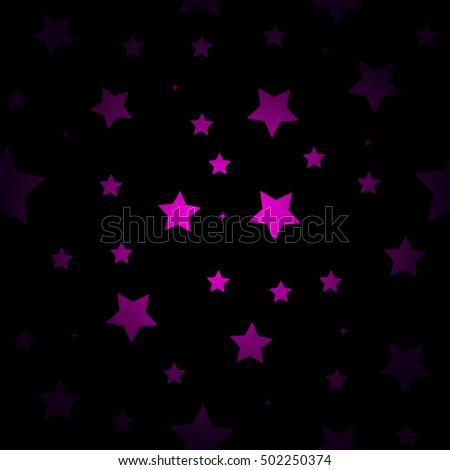 Purple Stars Seamless Pattern Retro Background Chaotic Elements Abstract Geometric Shape Texture