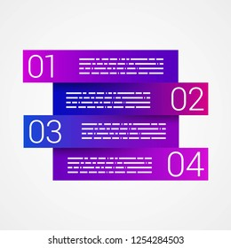 Purple Step by Step design. Minimal style infographic template layout. Vector Illustration.