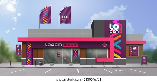 Purple store design with color geometric shapes. Elements of outdoor advertising. Corporate identity