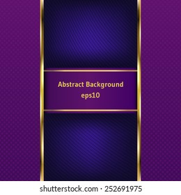 Purple stripe with a gold border on the abstract background