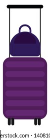 A purple stripe suitcase with four legs and a long slander handle, vector, color drawing or illustration.