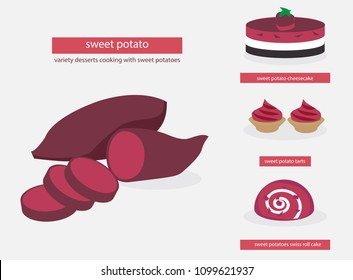 purple sweet potato tubers ,thin pieces of purple sweet potatoes, variety dessert cooking with purple sweet potatoes, flat vector isolated from background, organic food concept.