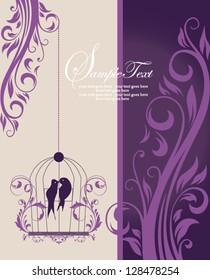 purple swirly invitation card with cage