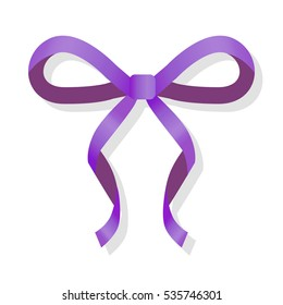 Purple thin bow isolated on white. Luxury holiday ribbon. Horizontal silk decoration element. Handmade satin bowknot. Simple cartoon vector ribbon in flat style design. Editable illustration icon