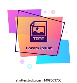 Purple TIFF file document. Download tiff button icon isolated on white background. TIFF file symbol. Color rectangle button. Vector Illustration