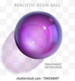 Purple transparent resin ball. Vector 3d realistic epoxy bead of violet color. Fashionable glossy artificial jewel. Perfect closeup sphere with a translucent lilac shadow on a checkered background.