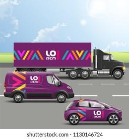 Lila Transport Werbung Design mit farbgeometrischen Elementen. Vorlagen für LKW, Bus und Pkw. Unternehmensidentität