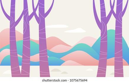purple tree fantasy forest vector illustration flat design