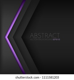 Purple triangle background vector geometric element overlap layer on black space for text and background design