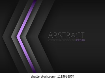 Purple triangle geometric vector background overlap layer on black space for background design