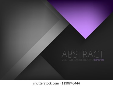 Purple triangle vector background geometric overlap layer on black space for text and background design