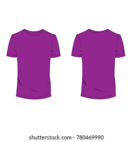 Purple T-shirt template using for fashion cloth design and assessorie for designer to make mock up.