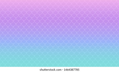 Purple turquoise magic gradient vector background. Kawaii nacre mermaid. Iridescent princess's tail. Holographic print. Blue green and magenta pink smooth transition. Squama texture. Scales of fish