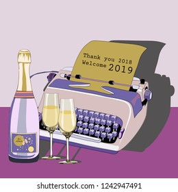 Purple typewriter with bottle of champagne and glasses. Pour feliciter 2019. Vector illustration on pink background