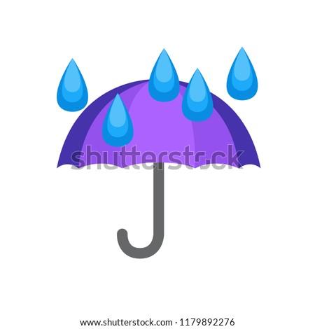 Purple umbrella emoji with rain drops