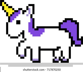 Purple Unicorn pixel art, 8 bit isolated on white background