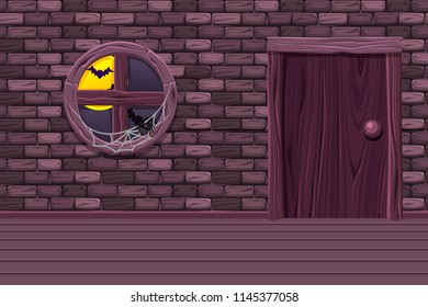Purple vector house cellar, illustration interior room with old window, door and stone wall