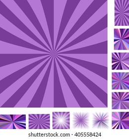 Purple vector ray burst design background set. Different color, gradient, screen, paper size versions.