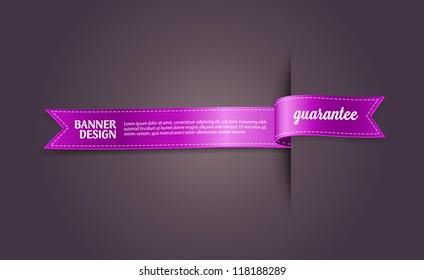 """Purple vector silky ribbon banner / tag """"Guarantee"""""""