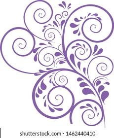 Purple vine plant decorative elements