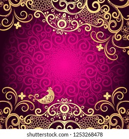 Purple vintage frame with lace mandala in the center and dolden curls (vector eps 8)