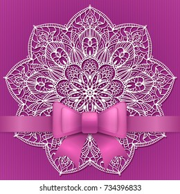 Purple vintage greeting card template with bow ribbon and lace mandala. Vector wedding invitation design. Anniversary template design for any celebration. Birthday, christmas, baby shower flyer.