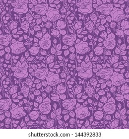 Purple vintage seamless pattern with garden roses