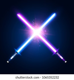 Purple violet and blue crossed light neon swords with trembling blades fight. Laser sabers war on dark blue background. Glowing rays in space. Battle elements with star. Colorful vector illustration.