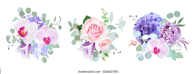 Purple and violet flowers vector design bouquets. Rose, orchid, hydrangea, carnation, bell flower, eucalyptus greenery. Floral wedding borders composition. All elements are isolated and editable