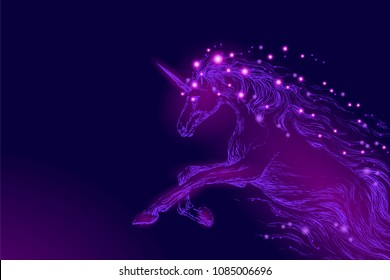 Purple violet glowing horse unicorn riding night sky star. Creative decoration magical backdrop shining cosmos space horn fairy myth moon light fantasy background vector illustration