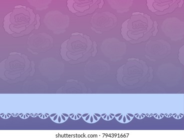 Purple and violet greeting card  with roses and blue decor frame, cover for notebook or present