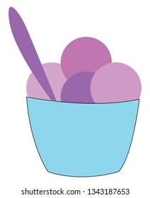 Purple and violet ice cream in a light blue cup with a purple spoon vector illustration on white background