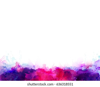 Purple, violet, lilac, magenta and pink watercolor stains formed border. Bright color element for abstract artistic background.