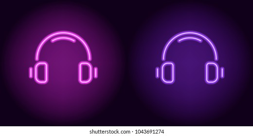 Purple and violet neon headphones. Vector illustration of neon music headphone consisting of outlines, with backlight on the dark background