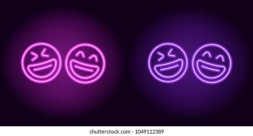 Purple and violet neon laughing emoji, fool day. Vector silhouette of neon pair emoji with smile consisting of outlines, with backlight on the dark background