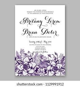 Purple violet peony dahlia Floral wedding invitation vector printable card template