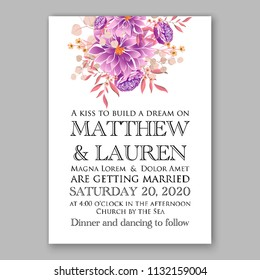 Purple violet peony Floral wedding invitation or greeting card Wreath of flower for marriage baby shower bridal shower invitation, party celebration vector printable template watercolor background