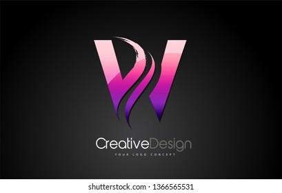 Purple Violet W Letter Design Brush Paint Stroke. Letter Logo with Black Background