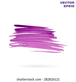 Purple watercolor hand painted shape design element. Bright abstract background for your text. High-resolution trace. Vector Illustration EPS10.