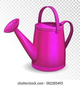 Purple watering can isolated on transparent background. Vector illustration.