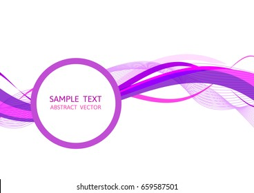 Purple wave abstract vector background Graphic Design with copy space