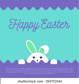 Purple wavy Easter greeting with a cute bunny