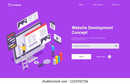 Purple website template design, website under maintenance, analytics analysis the data for Website Development concept.